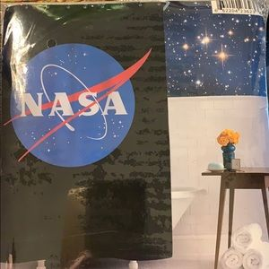 NASA Space Logo Shower Curtain Includes Hooks New!